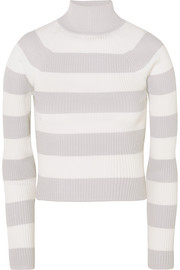 Whitewave cropped striped ribbed-knit sweater