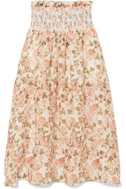 Zimmermann Radiate smocked floral-print linen and silk-blend maxi skirt