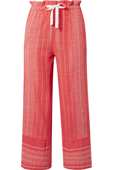 LEMLEM Saba Cropped Embroidered Cotton-Gauze Wide-Leg Pants in Red