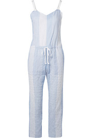 LemLem Issa grosgrain-trimmed striped cotton-blend gauze jumpsuit
