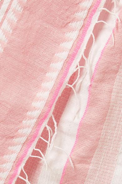 LemLem Lulu Minirock aus Gaze aus einer Baumwollmischung mit Wickeleffekt und Streifen