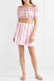 Lulu cropped striped cotton-gauze top