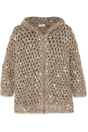 Hooded sequined open-knit cardigan