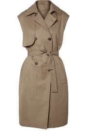 Cotton and ramie-blend gabardine trench coat
