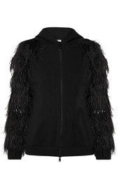 Hooded feather-trimmed stretch-cotton jersey jacket