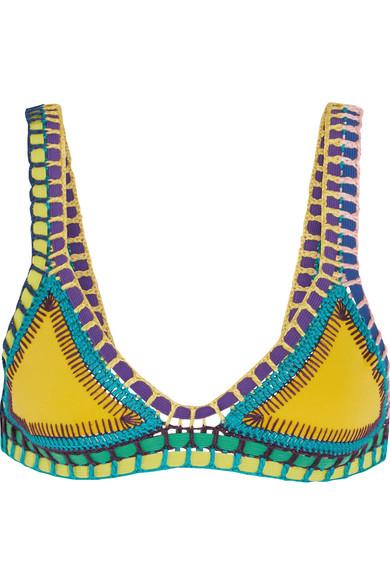 Kiini - Ro Crochet-trimmed Triangle Bikini Top - Yellow