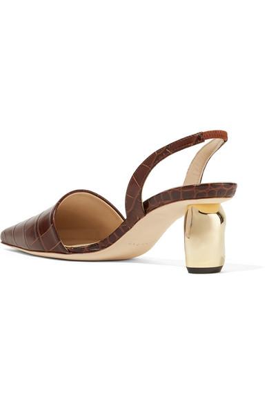 Conie Croc-effect Leather Slingback Pumps - Chocolate Rejina Pyo jegQTB0HK