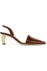 Conie croc-effect leather slingback pumps