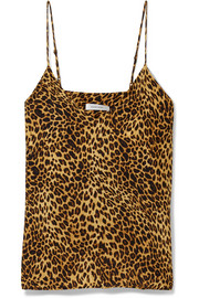 Gwyneth leopard-print washed-silk camisole