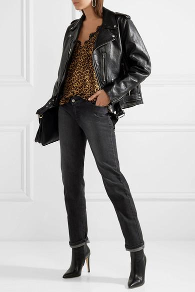 Anine Bing Gwyneth Top aus vorgewaschener Seide mit Leopardenprint