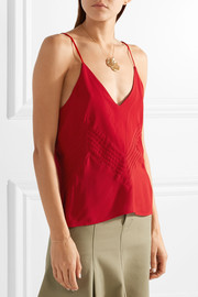 Sophie pintucked crepe de chine camisole