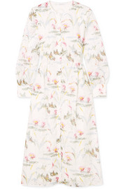 Kimberley floral-print broderie anglaise cotton-blend dress