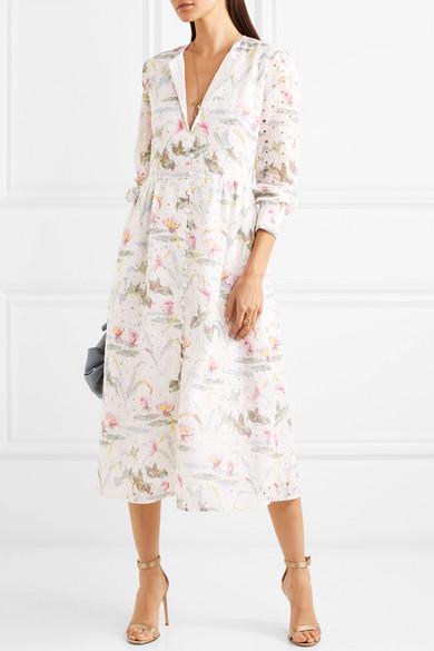 Vilshenko Kimberley Kleid aus einer floral bedruckten Baumwollmischung mit Lochstickerei