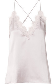 Everly lace-trimmed silk-charmeuse camisole