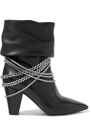 Sadie chain-embellished leather boots