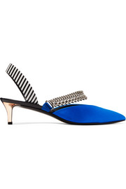 Kitty chain-embellished satin and striped leather slingback pumps