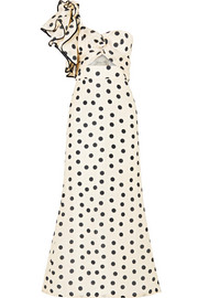 Valley of the Kings ruffled polka-dot silk-organza gown