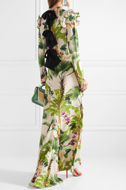Bow-embellished printed silk crepe de chine gown