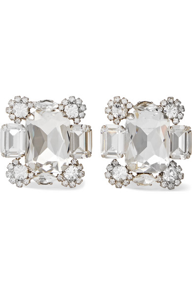 Off-White - Silver-tone Crystal Clip Earrings