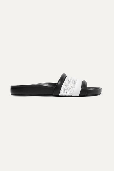 Hellea Smooth And Cracked Mirrored Leather Slides by Isabel Marant