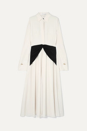 Embellished silk-paneled crepe de chine dress