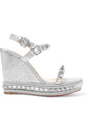 Christian Louboutin Pyraclou 110 spiked metallic textured-leather wedge sandals