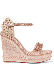 Christian Louboutin Madmonica 120 spiked metallic cracked-leather espadrille wedge sandals