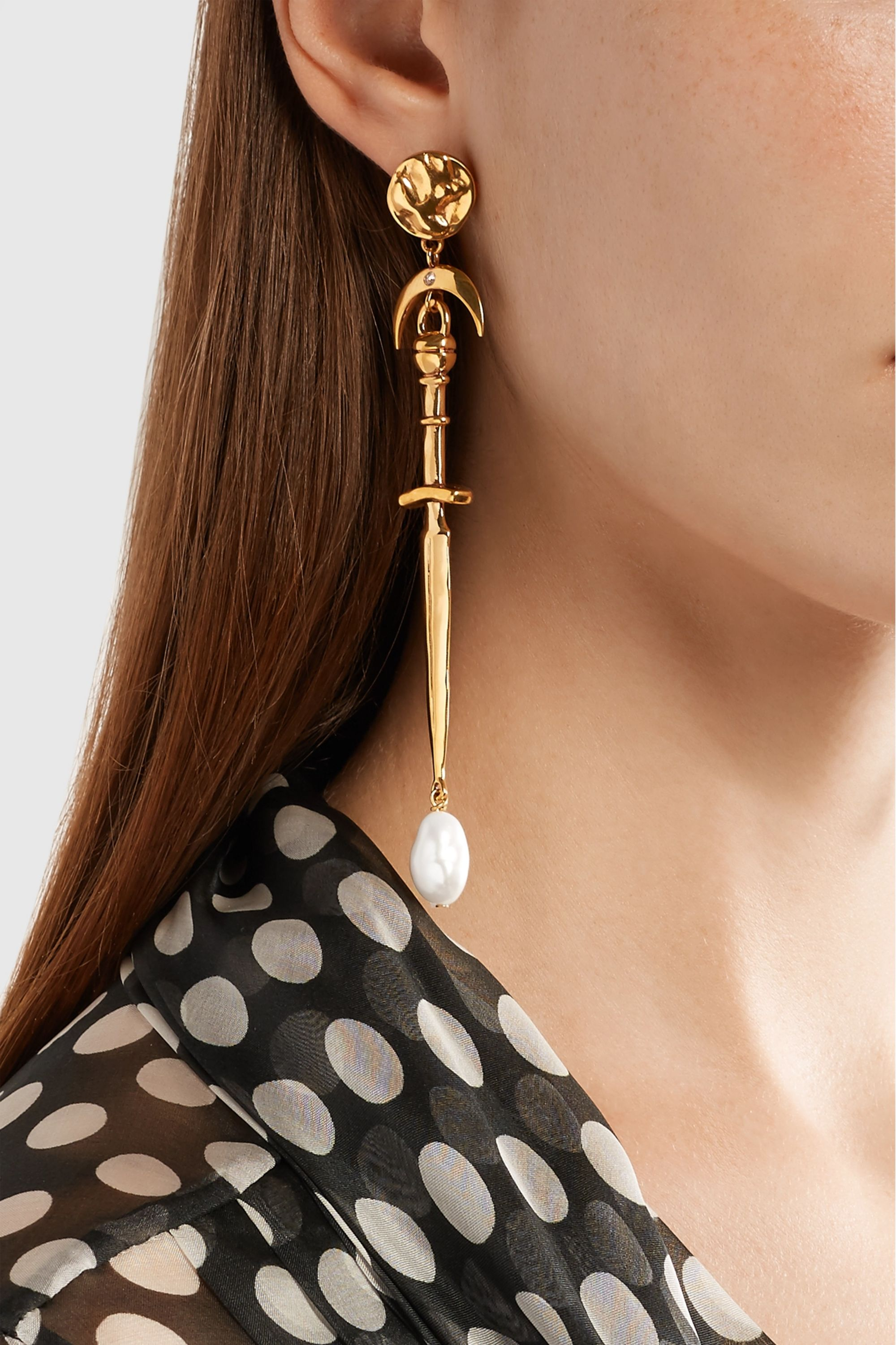 Givenchy Dagger gold-tone, crystal and pearl earrings