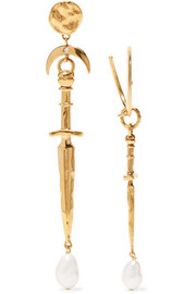 Dagger gold-tone, crystal and pearl earrings