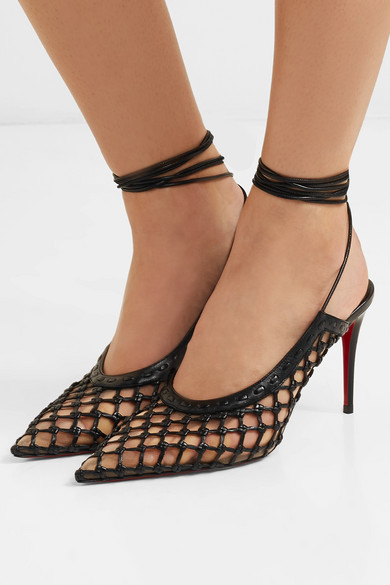 789947235a18 Christian Louboutin. + Roland Mouret Cage and Curry mesh and woven leather  pumps