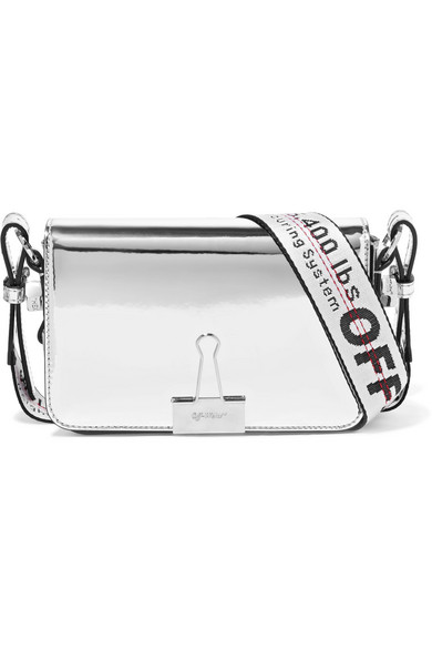 Off-White - Faux Mirrored-leather Shoulder Bag - Silver