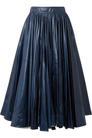Pleated shell midi skirt
