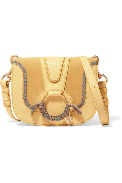 0625f56b61fe See By Chloé. Hana small textured-leather and suede shoulder bag