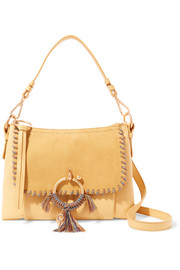See By Chloé Joan small whipstitched suede-paneled textured-leather shoulder bag