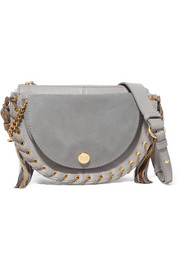 See By Chloé Kriss small eyelet-embellished textured-leather and suede shoulder bag