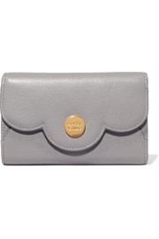Polina scalloped textured-leather wallet