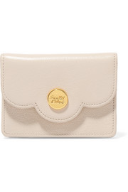 Polina mini scalloped textured-leather wallet