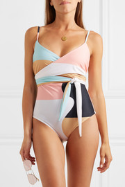Mara Hoffman Isolde belted printed swimsuit