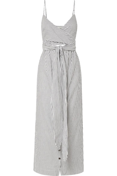 86f615850d478 Mara Hoffman Thora Striped Crisscross Self-Tie Cotton Dress In Black/ White