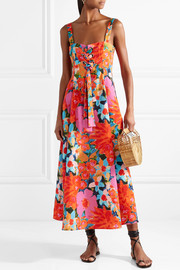Mara Hoffman Mei lace-up floral-print Tencel and linen-blend dress