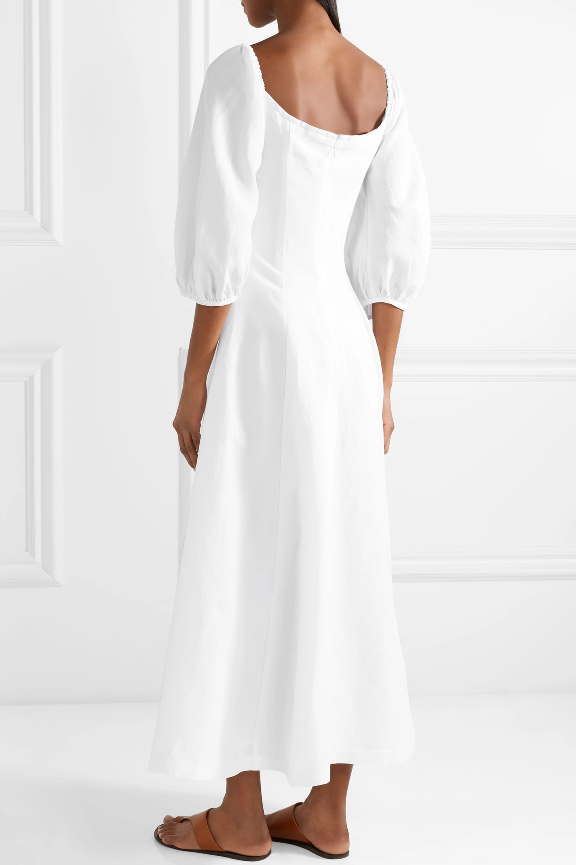 Mara Hoffman Mika off-the-shoulder Tencel and linen-blend midi dress