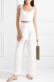 Mara Hoffman Amani belted Tencel and linen-blend wide-leg pants