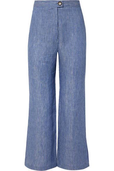 Arlene Striped Organic Linen Twill Flared Pants by Mara Hoffman
