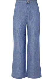 Arlene striped organic linen-twill flared pants