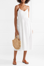 Agnes striped organic cotton-jacquard midi dress