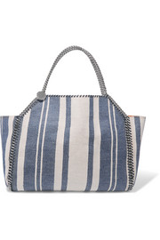 Stella McCartney Falabella reversible striped canvas and faux suede tote