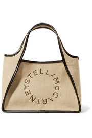 Stella McCartney Faux leather-trimmed perforated canvas tote