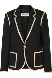 Metallic leather-trimmed wool blazer