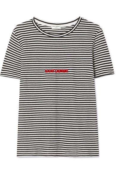 Saint Laurent Beflocktes T-Shirt aus gestreiftem Baumwoll-Jersey
