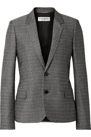 Saint Laurent Checked slub wool and mohair-blend blazer
